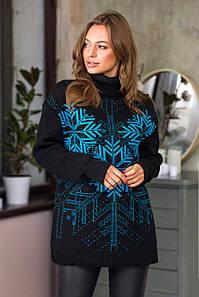 Теплый свитер со снежинками Сказка (черный, бирюза)