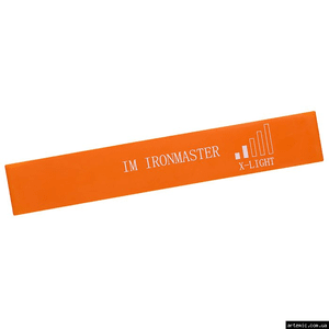 Резинка лента эспандер для фитнеса IronMaster Оранжевая x-light 600*50*0,6 мм нагрузка до 8 кг