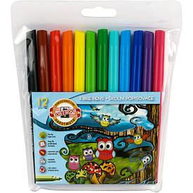 Фломастери Koh-i-noor 12 кольорів Совята пластик упак. 1012ЕТ/12