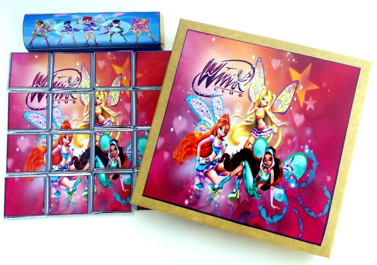 Шоколадний набір Шокопазл Вінкс + розмальовка. Подарунки дітям, сину, донці. Шоколадний пазл.
