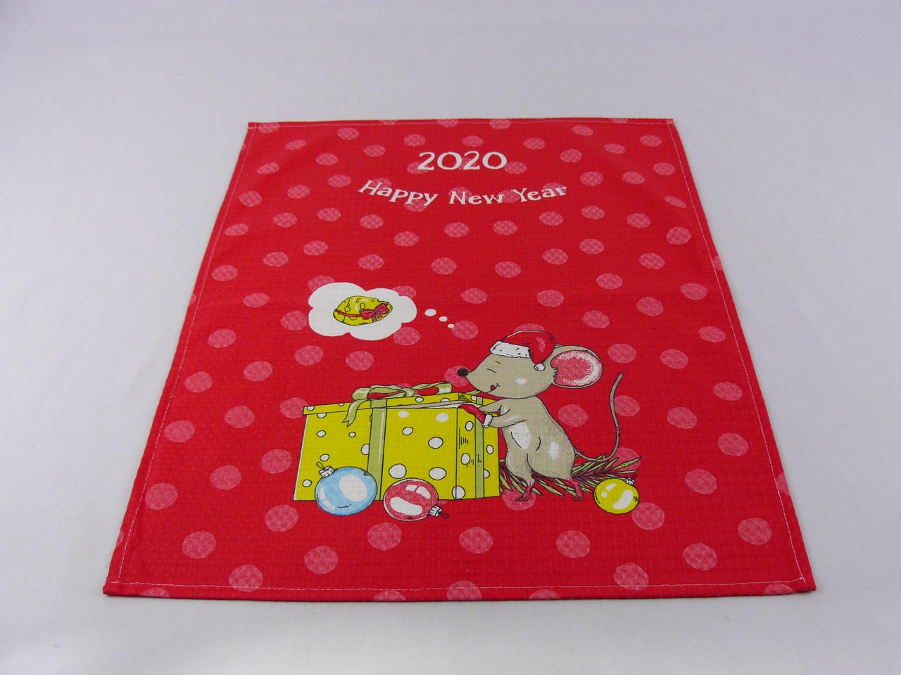 """Вафельное кухонное полотенце """" Мышки / Новый год"""" 40*60"""
