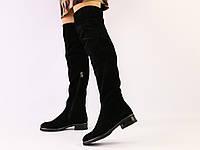 Зимние черные замшевые ботфорты, фото 1