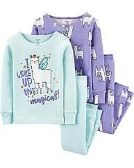 """Набор с двух пижамок Carter's для девочки """"Лама"""" фиолетовый, бирюзовый"""