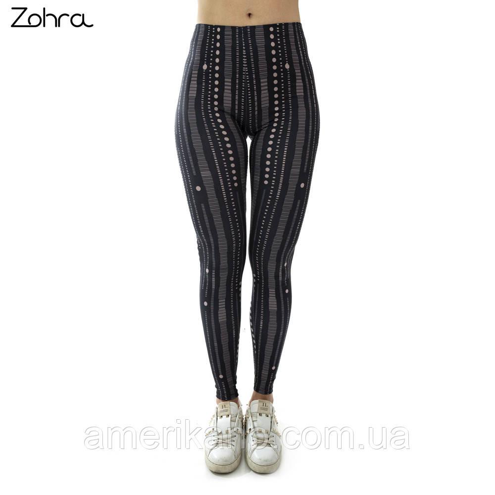 """Лосины яркие Zohra для занятий фитнеса, прогулок. """"Черные линии"""""""