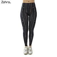 """Лосины яркие Zohra для занятий фитнеса, прогулок. """"Черные линии"""", фото 1"""