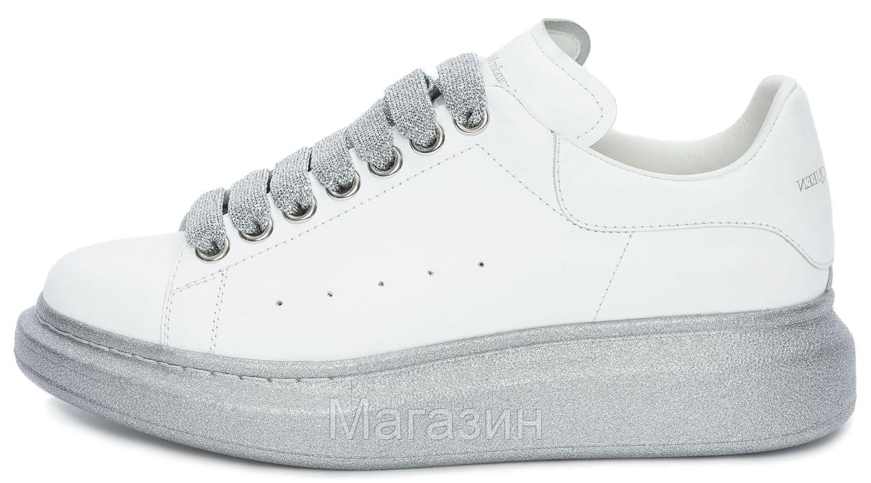 Женские кроссовки Alexander McQueen Oversized Leather White Silver кожаные Александр Маккуин белые