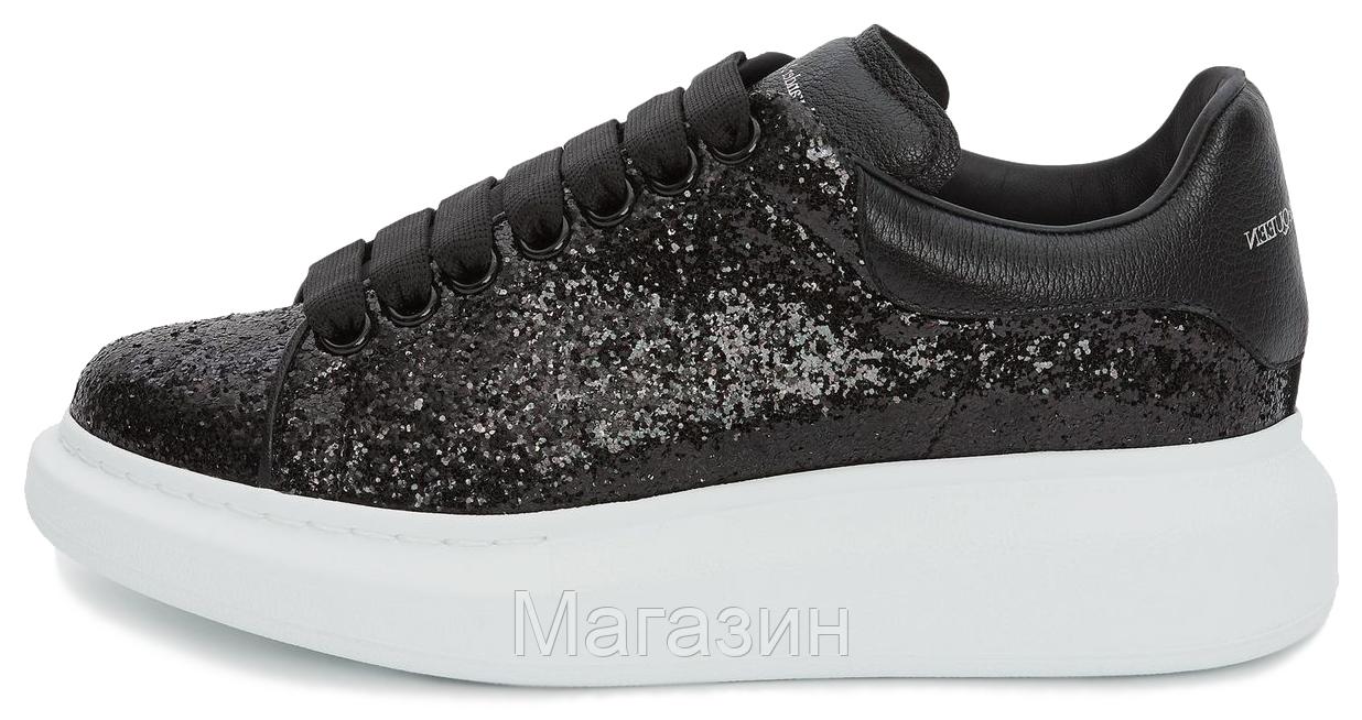 Женские кроссовки Alexander McQueen Oversized Black Glitter кожаные Александр Маккуин черные