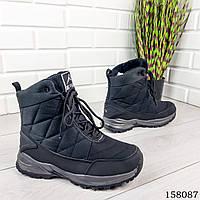 Мужские ботинки зимние на шнурках, черного цвета из плащевки, внутри теплый эко мех.