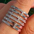 Женское широкое серебряное кольцо с фианитами 21 размер, фото 2