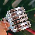 Женское широкое серебряное кольцо с фианитами 21 размер, фото 6
