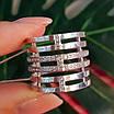 Жіноче широке срібне кільце з фіанітами 21 розмір, фото 5