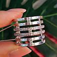 Женское широкое серебряное кольцо с фианитами 21 размер, фото 5