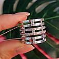 Женское широкое серебряное кольцо с фианитами 21 размер, фото 4