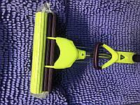 """Швабра губка с двойным отжимом и телескопической ручкой фиолетово салатовая """"КИТ"""""""