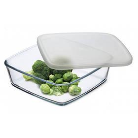 Пищевой контейнер Simax Color 7466 квадратный 21 х 21 х 6.5 cм с пластиковой крышкой