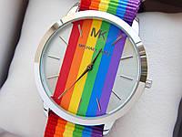 Наручные часы копия Michael Kors (Майкл Корс) - синтетический ремешок, серебро, цветной циферблат, CW346