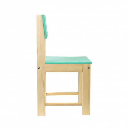 Детский стул со спинкой из натурального дерева (сосна) 24 см Салатовый, фото 2