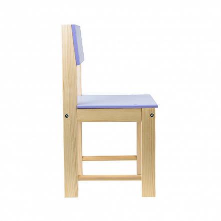 Детский стульчик со спинкой из натурального дерева (сосна) 28 см Фиолетовый, фото 2