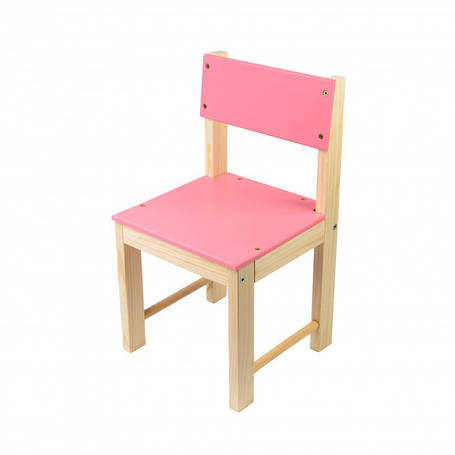 Детский стульчик со спинкой деревянный (сосна) 32 см Розовый, фото 2