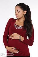 "Облегающий лонгслив для беременных и кормящих ""Layma print "", вишня, фото 1"