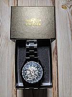 Часы механические Winner Skeleton, черные