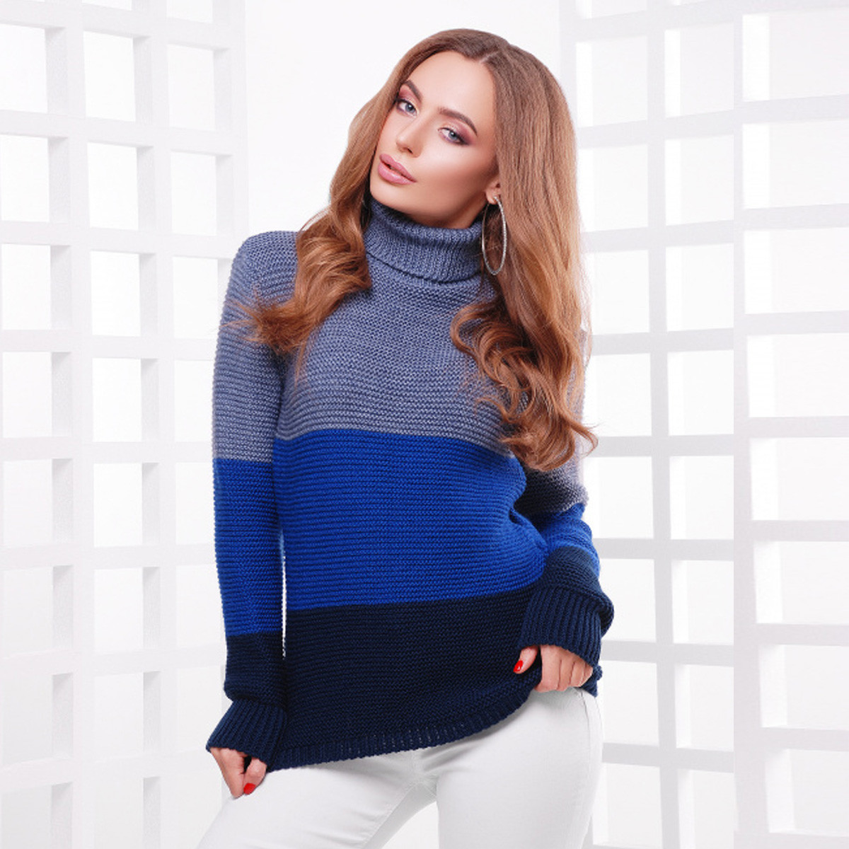 """В'язаний светр жіночий триколірний теплий зимовий """"Лайк"""""""