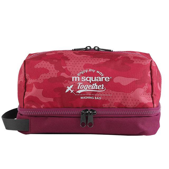 Косметичка M Square з подвійним дном хакі рожевий