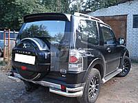 Защита заднего бампера (отбойник-двойные углы) Mitsubishi pajero wagon IV (митсубиси паджеро вагон 4) 2005г+