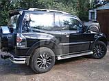 Защита заднего бампера (отбойник-двойные углы) Mitsubishi pajero wagon IV (митсубиси паджеро вагон 4) 2005г+, фото 2