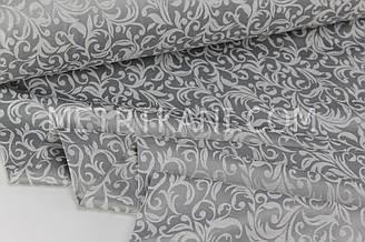 """Турецкий сатин с узором, """"Вензель винтажный """" светло-серый на сером 240 см № СТ-1070-2"""