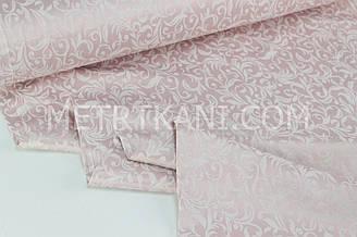 "Турецкий сатин с узором, ""Вензель винтажный ""  на грязно-розовом  фоне 240 см № СТ-1070-4"