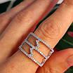 Срібне кільце з фіанітами - Жіноче срібне родированное кільце Зигзаги, фото 7