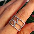 Серебряное кольцо с фианитами - Женское серебряное родированное кольцо Зиг-заги, фото 7
