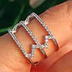 Срібне кільце з фіанітами - Жіноче срібне родированное кільце Зигзаги, фото 6