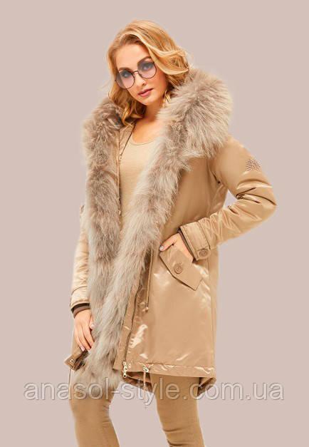Куртка парка зимняя больших размеров с мехом енота водоотталкивающая  бежевая