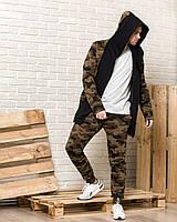 Камуфляжная мантия с капюшоном + мужские камуфляжные спортивные штаны (комплект)