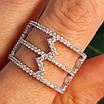 Срібне кільце з фіанітами - Жіноче срібне родированное кільце Зигзаги, фото 5