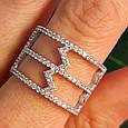 Серебряное кольцо с фианитами - Женское серебряное родированное кольцо Зиг-заги, фото 5