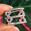 Срібне кільце з фіанітами - Жіноче срібне родированное кільце Зигзаги, фото 4