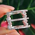 Серебряное кольцо с фианитами - Женское серебряное родированное кольцо Зиг-заги, фото 2