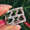 Срібне кільце з фіанітами - Жіноче срібне родированное кільце Зигзаги, фото 3