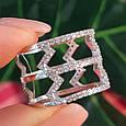 Серебряное кольцо с фианитами - Женское серебряное родированное кольцо Зиг-заги, фото 3