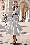 Трикотажное платье миди с поясом серое, фото 2