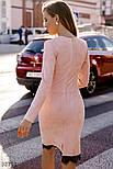 Замшевое платье с кружевом на подоле пудровое, фото 5