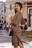 Приталенное платье миди с поясом коричневое, фото 5