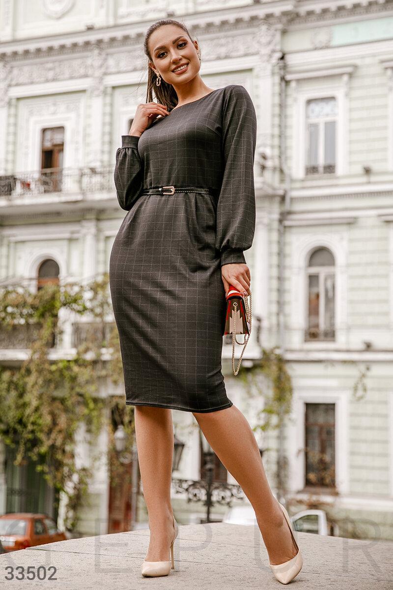 Деловое платье миди в клетку черное