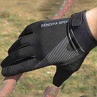 Велоперчатки Sendiya Sport закрытые, черные, XL, фото 1