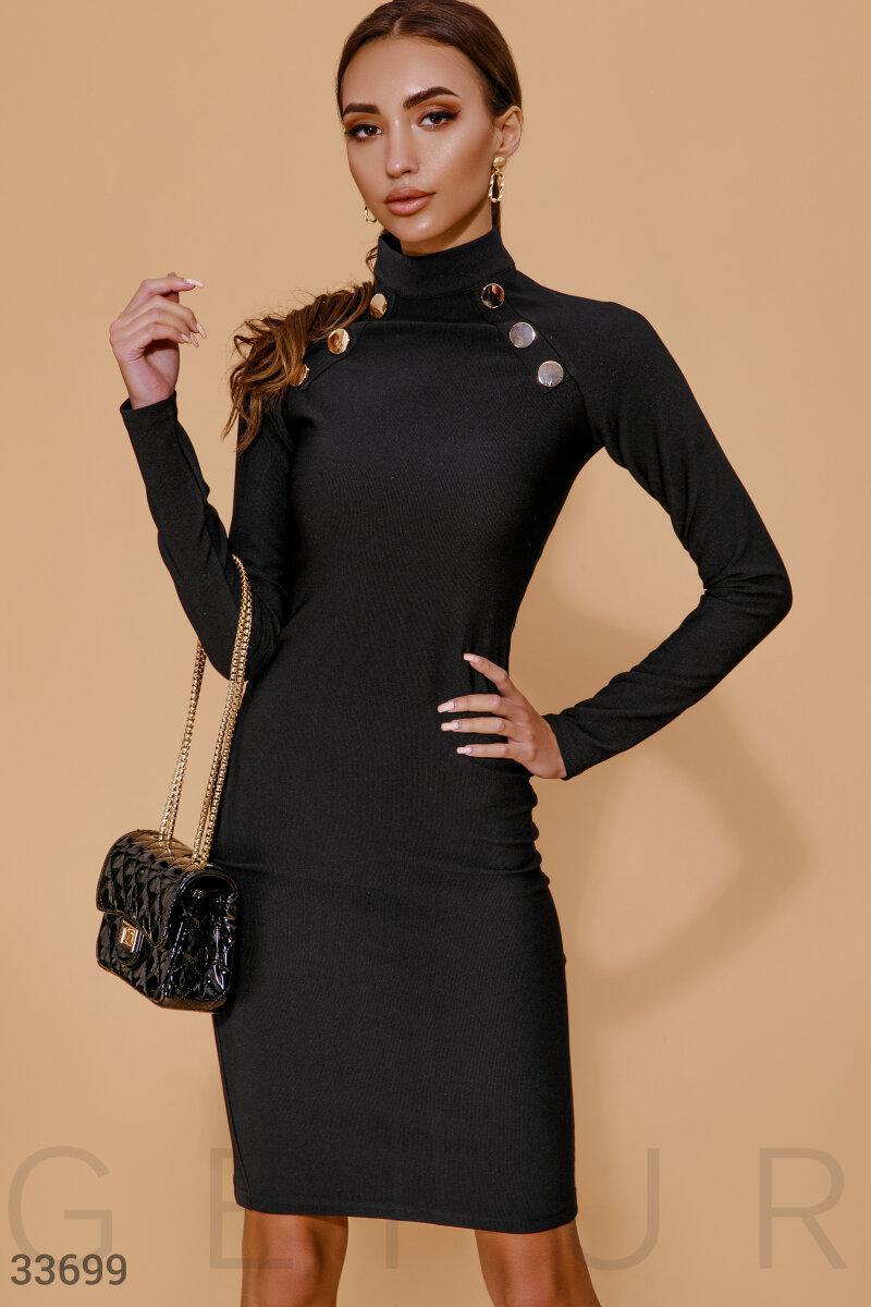Трикотажное платье футляр с высоким воротником черное