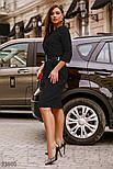 Деловое приталенное платье миди черное, фото 2