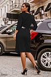 Деловое приталенное платье миди черное, фото 4
